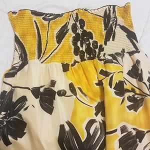 Silk black yellow watercolor BCBG maxi dress - XS